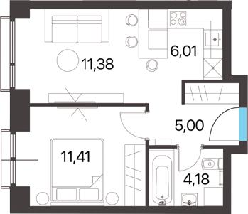2Е-комнатная квартира, 37.98 м², 8 этаж – Планировка