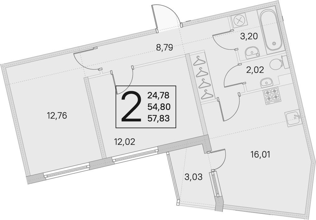 3Е-к.кв, 54.8 м², 1 этаж