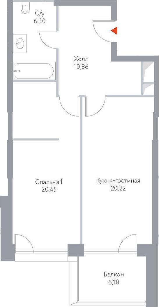 2Е-к.кв, 64.01 м², 5 этаж