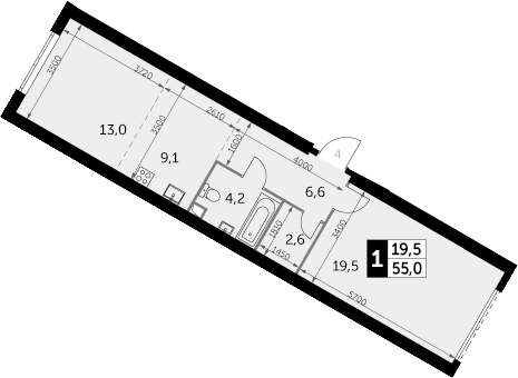 1-к.кв, 55 м²