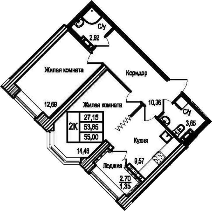 2-к.кв, 56.35 м²