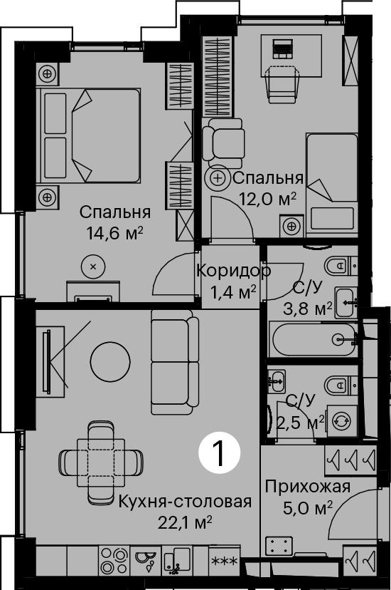3-к.кв (евро), 61.4 м²