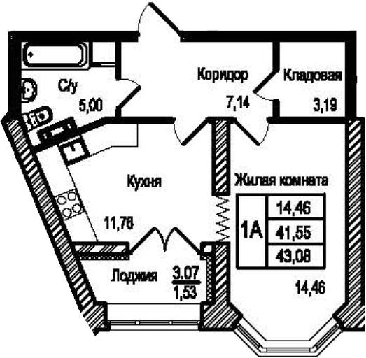 1-к.кв, 44.61 м²