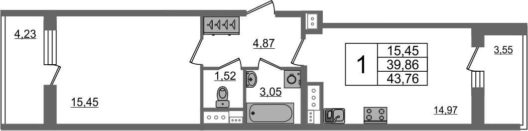 1-комнатная, 39.86 м²– 2