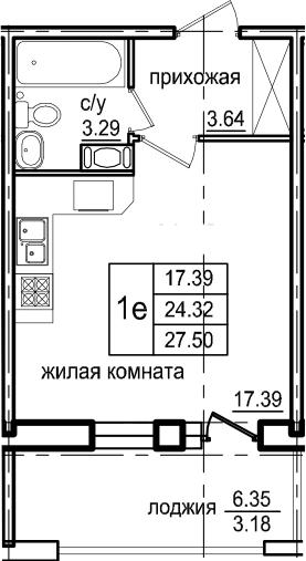 Студия, 27.5 м², 7 этаж – Планировка