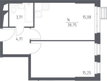 2Е-комнатная, 38.75 м²– 2