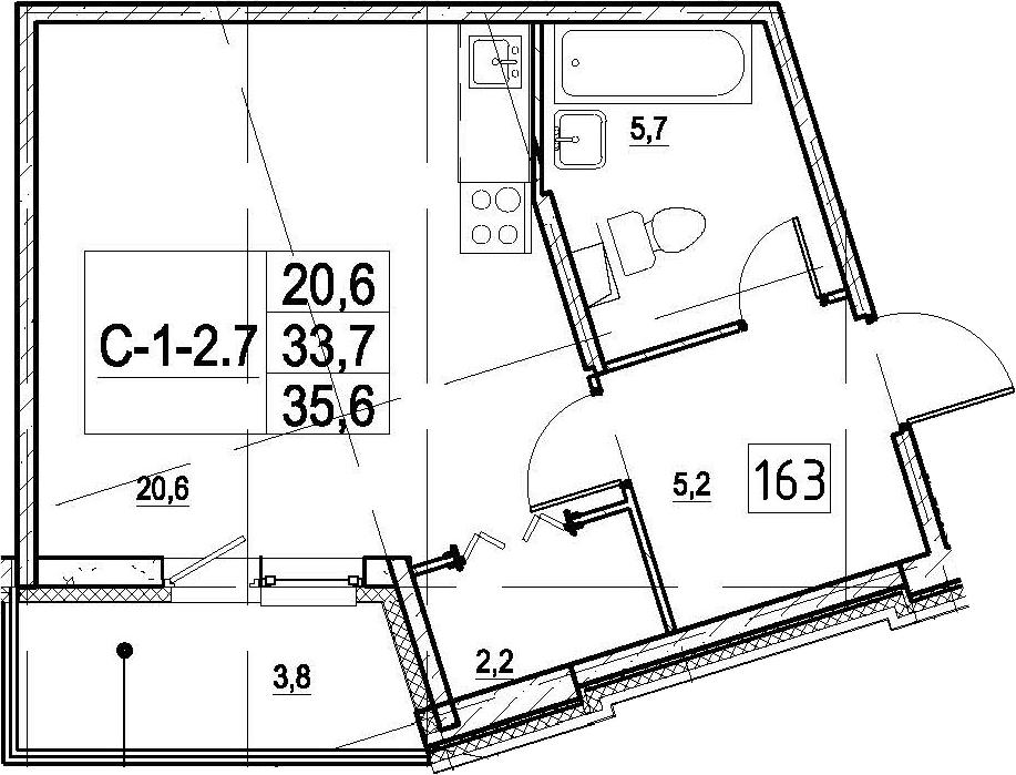 Студия, 35.6 м², 1 этаж