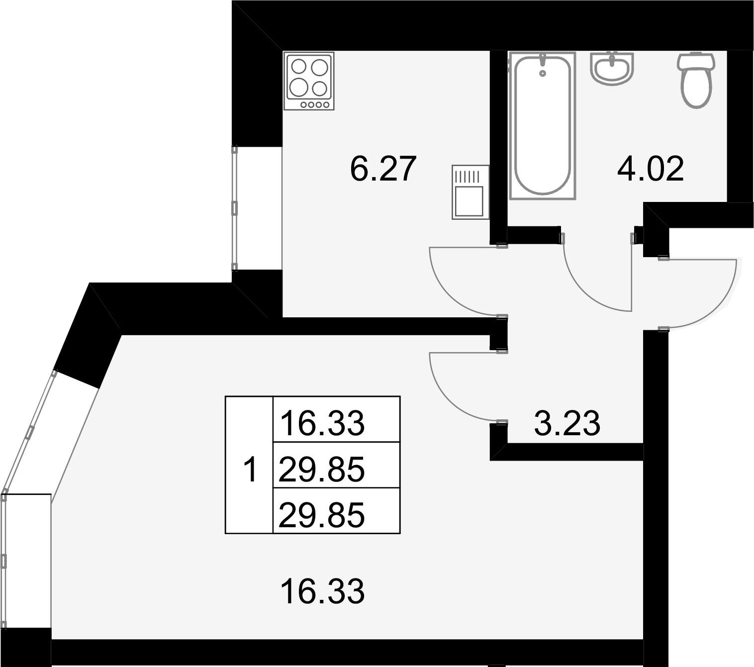 1-к.кв, 29.85 м²