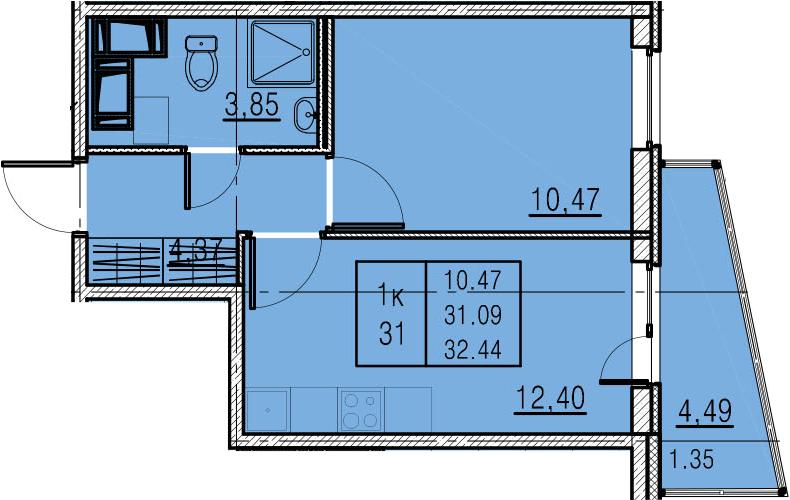 1-комнатная, 31.09 м²– 2