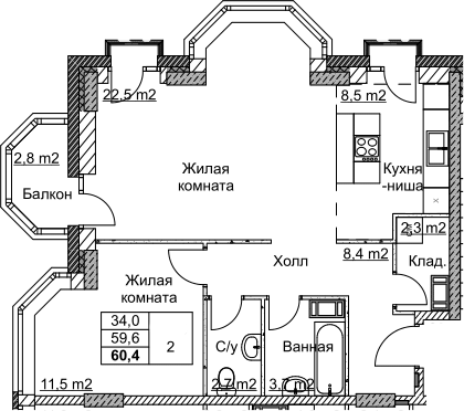 2Е-комнатная, 60.4 м²– 2