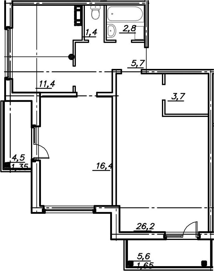 2-к.кв, 70.6 м²