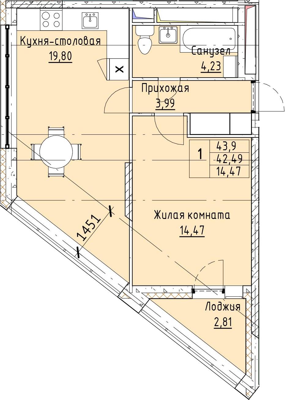 2Е-к.кв, 43.9 м²