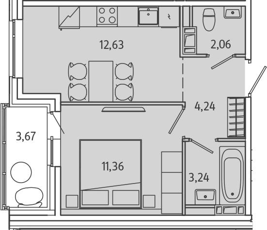 1-к.кв, 35.37 м², 9 этаж