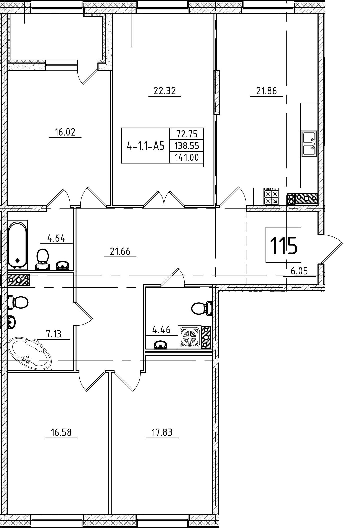 5Е-к.кв, 141 м²