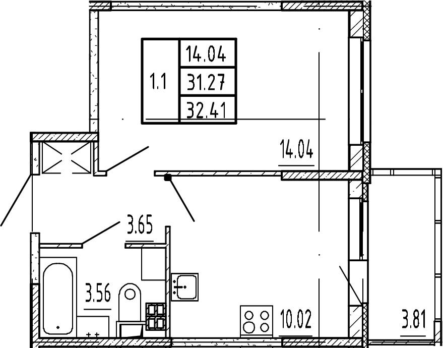 1-к.кв, 31.27 м²