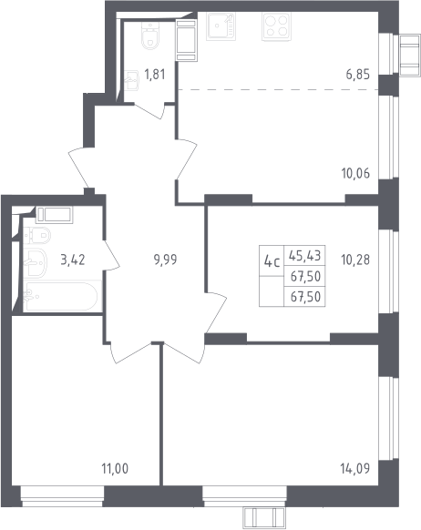 4Е-к.кв, 67.5 м²