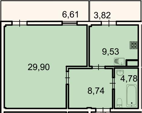 1-комнатная, 56.1 м²– 2
