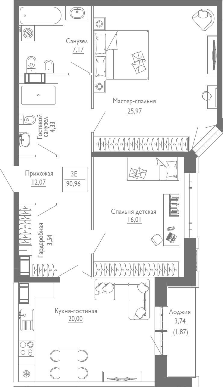 3Е-к.кв, 90.96 м²