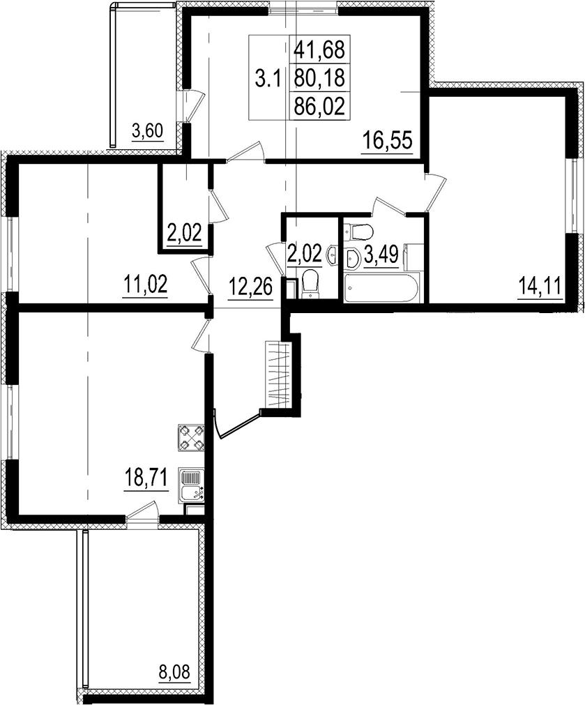 4Е-к.кв, 80.18 м²