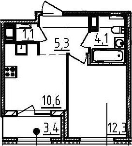 1-к.кв, 35.1 м², от 5 этажа
