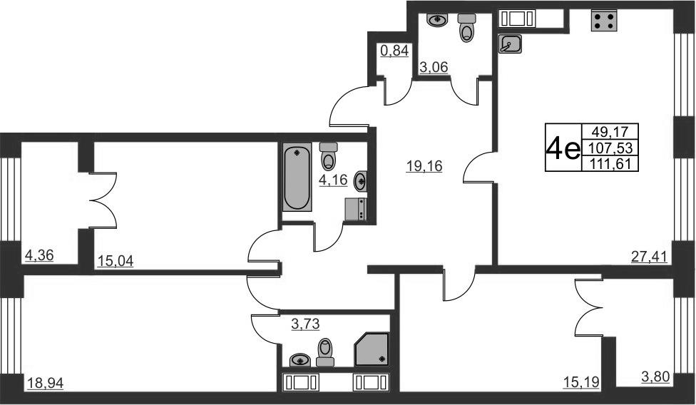4-к.кв (евро), 115.69 м²