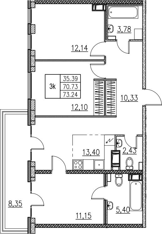 4Е-комнатная, 73.24 м²– 2