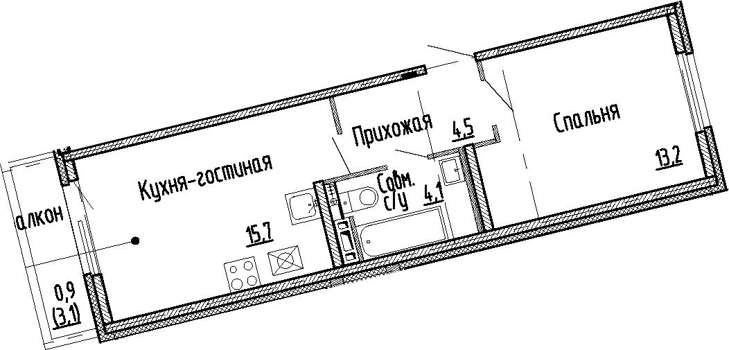 2Е-к.кв, 37.5 м², 5 этаж