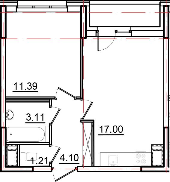 2Е-к.кв, 38.31 м², от 3 этажа