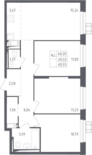 4Е-к.кв, 69.53 м², 9 этаж