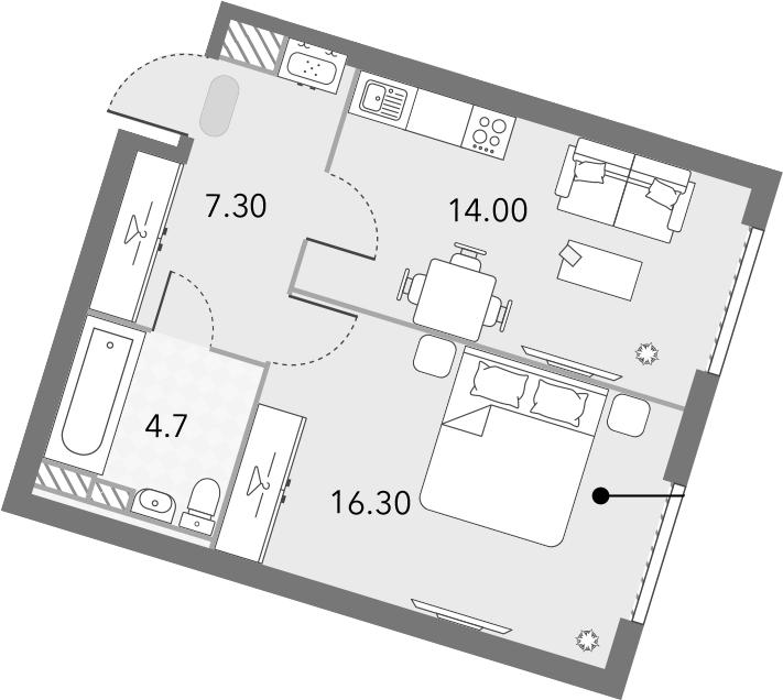 1-комнатная, 42.3 м²– 2