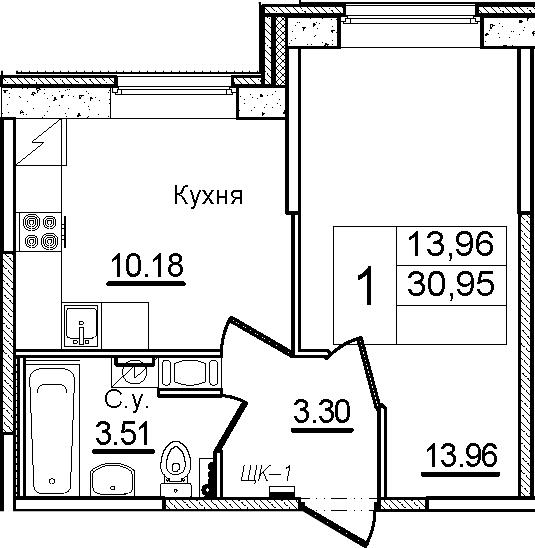 1-к.кв, 30.95 м², 1 этаж