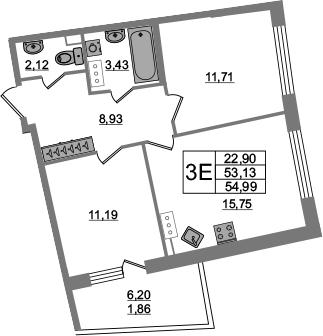 3Е-комнатная, 53.13 м²– 2