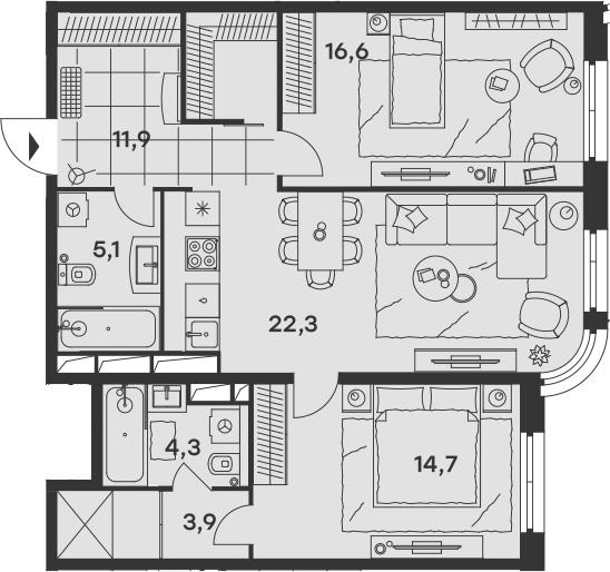 3Е-к.кв, 78.8 м², от 14 этажа