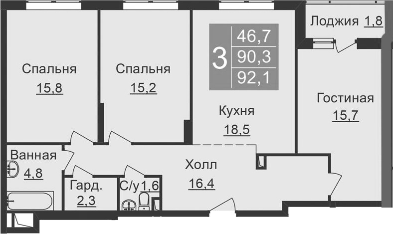 4-к.кв (евро), 93.9 м²