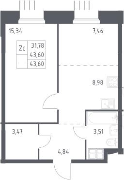 2Е-к.кв, 43.6 м², 2 этаж