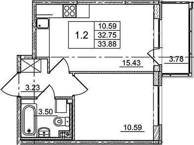 2Е-к.кв, 33.88 м²