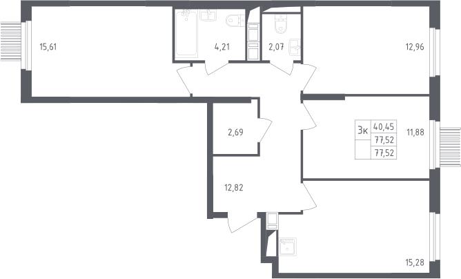 3-к.кв, 77.52 м²