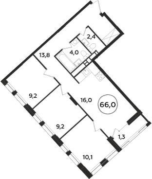 4-к.кв (евро), 67.3 м²