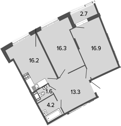 3Е-к.кв, 68.5 м², от 15 этажа