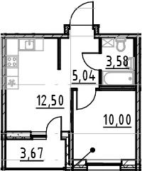 1-к.кв, 34.79 м²