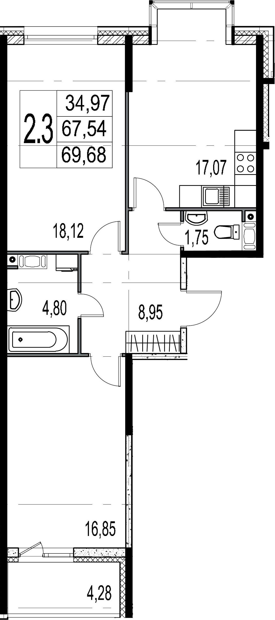 2-к.кв, 67.54 м²