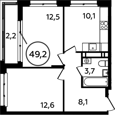 2-к.кв, 49.2 м²