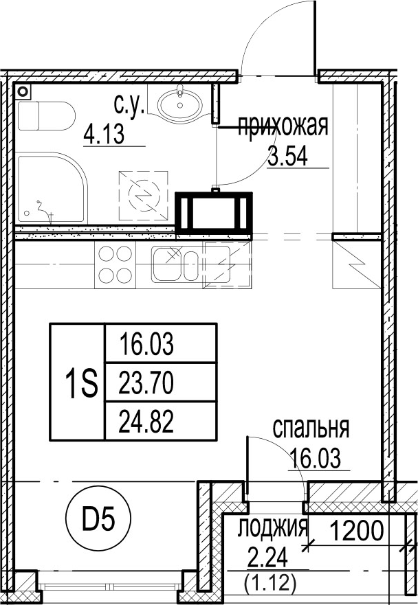 Студия, 25.94 м²