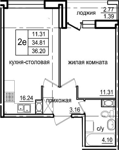 2Е-к.кв, 36.2 м², от 2 этажа