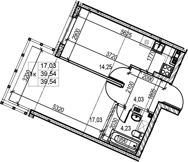 2Е-комнатная квартира, 39.54 м², 3 этаж – Планировка