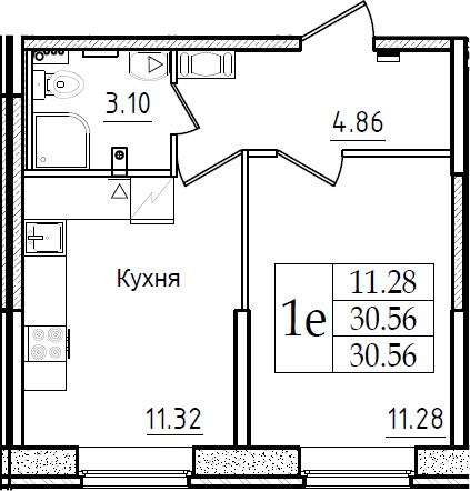 1-к.кв, 30.56 м², 1 этаж