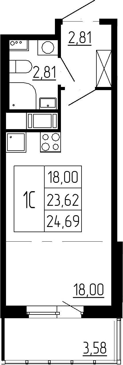 Студия, 27.2 м²