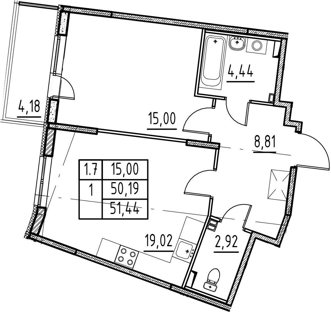 2-к.кв (евро), 54.37 м²