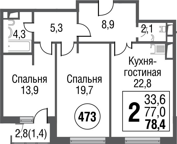 3Е-комнатная, 78.1 м²– 2