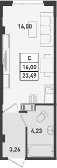 Студия, 23.49 м², от 14 этажа
